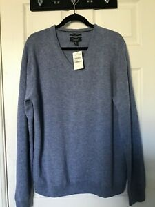 NORDSTROM NEW WITH TAGS SZ XL MEN'S BLUE V-NECK BLUE ITALIAN CASHMERE SWEATER