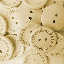 """50  """"HANDMADE WITH LOVE""""  20mm -  Wood Buttons  - Crafting - Sewing UK"""
