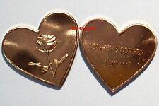 Joli Lingot ROSE sur COEUR 1 gramme Cuivre - Rose on One Gram Fine Copper Heart