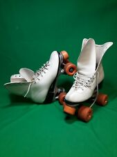 Vintage Roller Derby 6 1/2 Women's White Roller Skates Urethane 28 Wheels orange