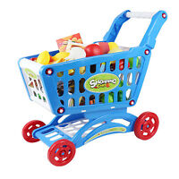 46pcs Kids Childrens Shopping Trolley Cart Role Play Set Toy Plastic Fruit Food