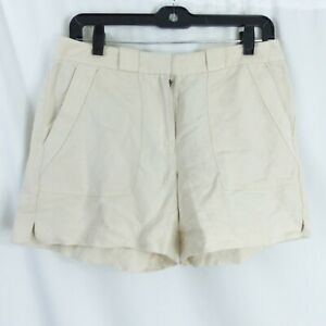 White House Black Market Linen Blend Shorts Snap Detail Short 4 Tan