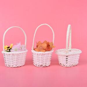 1Pcs Hand-woven Mini Plastic Weaving Storage Fabric Basket Rattan Tea Picnic BTU