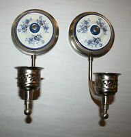 (2) Candle Wall Sconces In Satin Nickle W/Floral Pattern On Porcelain Rosette