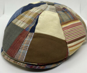 BORSALINO 59-60cm L/XL ITALY 100% Cotton 8/4 PATCHWORK Flat Cap Multicolored Hat