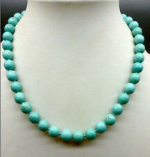 """Pretty! 10mm Blue Turquoise Gems Round Beads Necklace 18"""" AAA"""