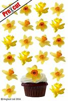 24 X PRE-CUT DAFFODIL FLOWERS EDIBLE WAFER CUP CAKE TOPPER BIRTHDAY DECORATIONS