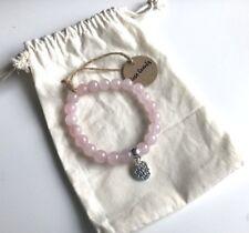 Yoga Rose Quartz Lotus Flower Charm Elasticated Bracelet Yogi New in Gift Bag