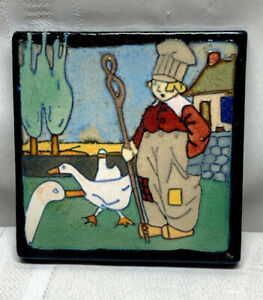FLINT FAIENCE TILE, WONDERFUL DUTCH BOY W GEESE, QUITE RARE AND WELL DETAILED~~~