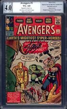 Avengers #1 PGX 4.0 VG 1963 Stan Lee Signature! Hulk! Thor! Like CGC! E7 H10 cm