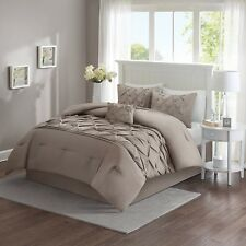 5 Piece Comforter Set Full Queen Taupe Victorian Tufted Pattern Bedroom Decor