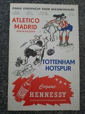 More details for atletico madrid v tottenham hotspur 1963 cup winners cup final- 16 page edition