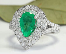 3.50 Carats Natural Colombian Emerald & Diamond 14K Solid White Gold Ring