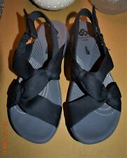 Clarks Cloud Steppers Sandals Women's Arla Primrose Black Fabric US Size 7 Med