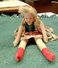 Antique Cloth Girl Doll Paper Mache Face Poland