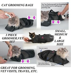 CAT GROOMING&CARE BAG Restraint System Nail Clipping Carrier Bath Bathing*3 SIZE