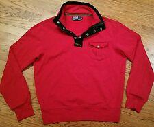 Polo Ralph Lauren half-zip Snap Sweatshirt Shirt Large, Elbow Patch Talon Zipper