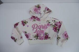 Monnalisa Hoodie Girls Age 6 Years  Size 116 Cream & Pink Flowers