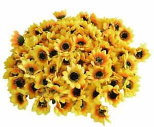100/200/500pcs Artificial Flower Silk Sunflower Head Wedding Holding Flower Deco