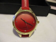 "AVON Swept Away Ombre Watch 9"" L Leatherlike Strap 1 1/4"" Face Goldtone & RED"