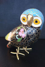 OWL CLOISONNE MULTICOLORED ENAMEL CHINA COLLECTIBLE ANTIQUE DECORATIVE STATUE