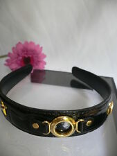 WOMEN BLACK COLOR FAUX PATENT LEATHER FASHION HEADBAND GOLD CHAIN CUTE HAIR STYL