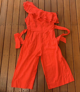 Seed Heritage Size 14 Jumpsuit One Shoulder Wide Leg Waits Tie Cocktail