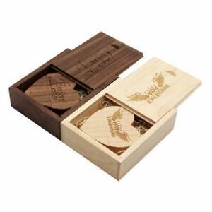 Walnut Wooden Heart USB 2.0 3.0 Flash Drive Engraved Custom Box Wedding Pendrive
