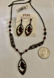 1928 Jewelry Co. Black Japanned & Deep Red Rhinestone Necklace & Earrings Set