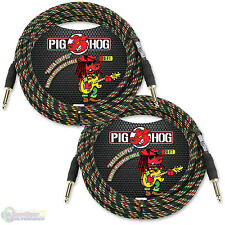"Pig Hog PCH20RA Guitar Instrument Cable 1/4"" to 1/4"" 20 ft. Rasta Stripes 2 Pack"