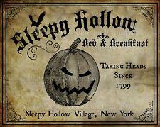 Primitive Sleepy Hollow Bed & Breakfast Halloween Spooky Jol Laser Print 8x10