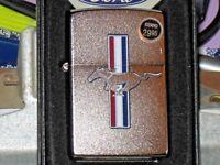 New ZIPPO Windproof USA LIGHTER 205 Ford Mustang Logo 191693 062656 Satin Chrome