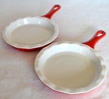 New 2 Individual Stoneware Pie Quiche Fluted Baking Dish Pan Red White Handle 8""