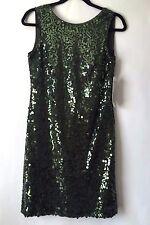 NEW Joseph Ribkoff Cocktail Green Sequins Dress, Sleeveless, Sz 12, Retail $ 250