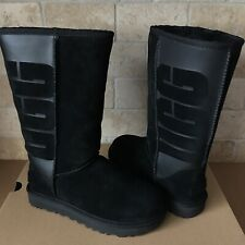 UGG Classic Tall Rubber UGG Logo Black Suede Sheepskin Boots Size 5 Womens