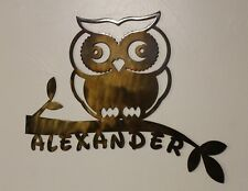 OWL on Branch Plaque Door or Wall Sign Personalized w Name Metal Art Childs Room