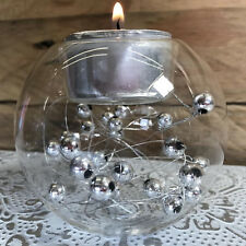 Vintage Glass Silver Baubles Tealight Candle Holder Christmas Decoration Globe