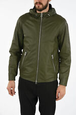 DROME men Jackets Sz M Green Hooded Leather Jacket Full Zip Green M (Standard...
