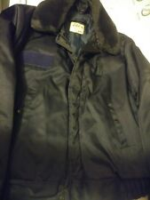 Avirex Cold Weather Navy Mens Security 42R Quilted Zip Up Jacket Faux Fur Collar