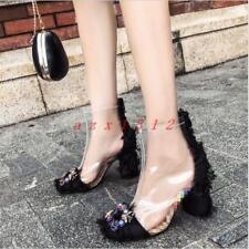 Women Square Toe High Block Heel Transparent Zip Rhinestone Ankle Boot Shoe New