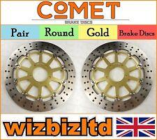 COMET Pair Gold Front Brake Discs Suzuki GSXR 600 V/W/X/Y SRAD 97-00 R906GD2