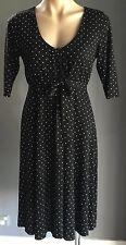 Flattering BLACKLINE Black & White Polka Dot Empire Waist Dress Size S (8)
