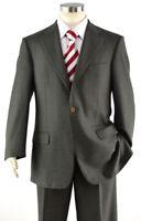 ERMENEGILDO ZEGNA Gray Brown Stripe 3/2 Roll Full Canvas Wool Suit 50R / 40R US