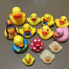 """Lot of 13 Rubber Duck Ducky Toys Indian Bow Ties Super Duck 1"""" to 3"""" Some Squeak"""