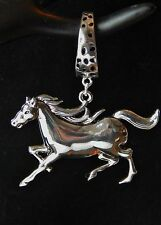 NWT WOMENS SILVER DIMPLED SCARF RING/SLIDER WITH POLISHED SILVER  HORSE PENDANT