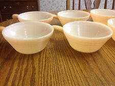 Vintage Fire King Peach Lusre Anchor HOcking Handled Soup Chili Bowls Set OF 6