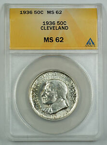 1936 Cleveland Silver Half Dollar Commemorative Coin ANACS MS 62 (Better Coin)