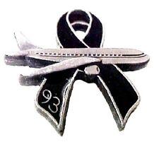 Flight 93 Black Ribbon Pin Jet Plane Memory Remembrance 9-11-01 Lapel Collar Tac