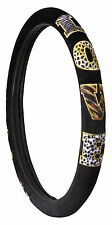"ANIMAL PRINT PATCHWORK ""LOVE"" STEERING WHEEL COVER - BLACK COLOR"