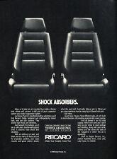 1988 Recaro Seat - Shock Absorbers - Classic Vintage Advertisement Ad H52